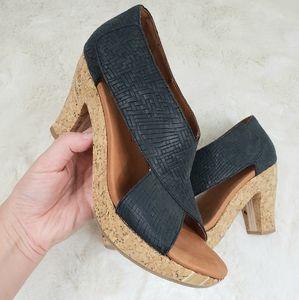 Gentle Souls Sun Dae woven cork sandal heel